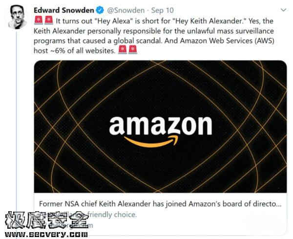 美国国家安全局前局长加入亚马逊-极安网