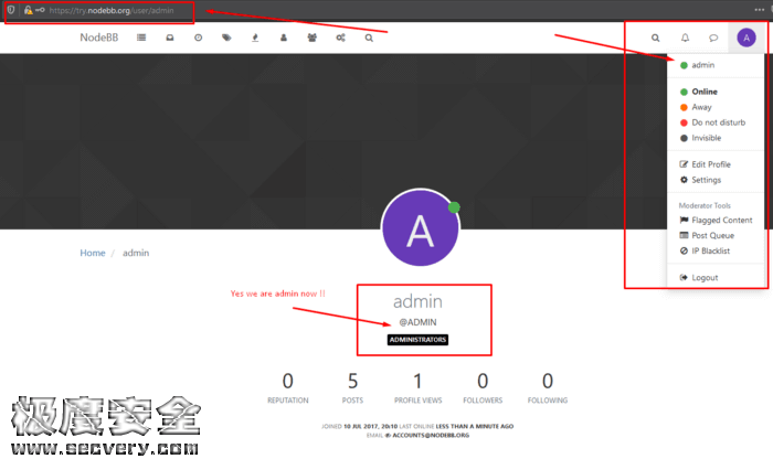 NodeBB论坛越权漏洞(任意密码重置漏洞)-极安网