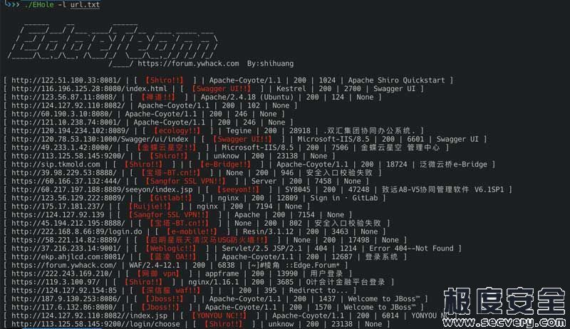 EHole(棱洞)红队重点攻击系统指纹探测工具-极安网