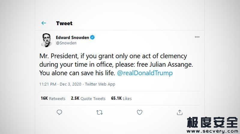 斯诺登喊话特朗普:请求赦免维基解密创始人阿桑奇-极安网