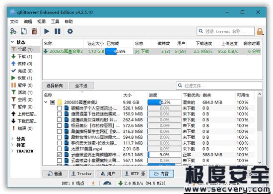 qBittorrent BT下载神器 v4.3.2.10 绿色增强版-极安网