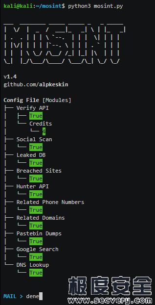 mosint自动电子邮件开源情报信息收集工具-极安网